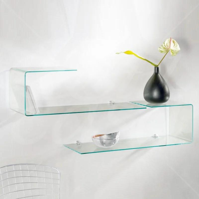 Mensola sagomata in vetro trasparente da 6 mm completa di