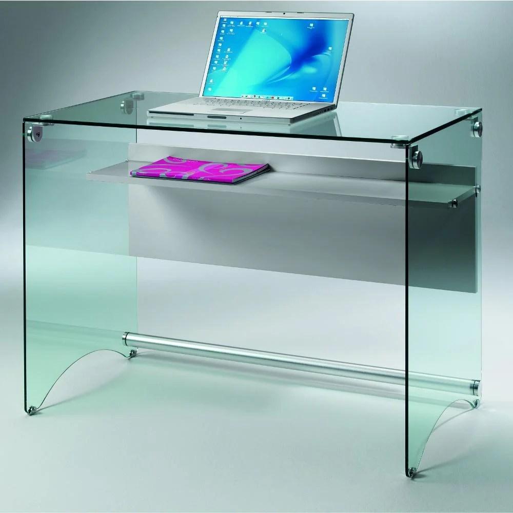 Scrivania Porta Computer in vetro temperato da 10 mm 100x55xh74 cm con ripiano in laminato