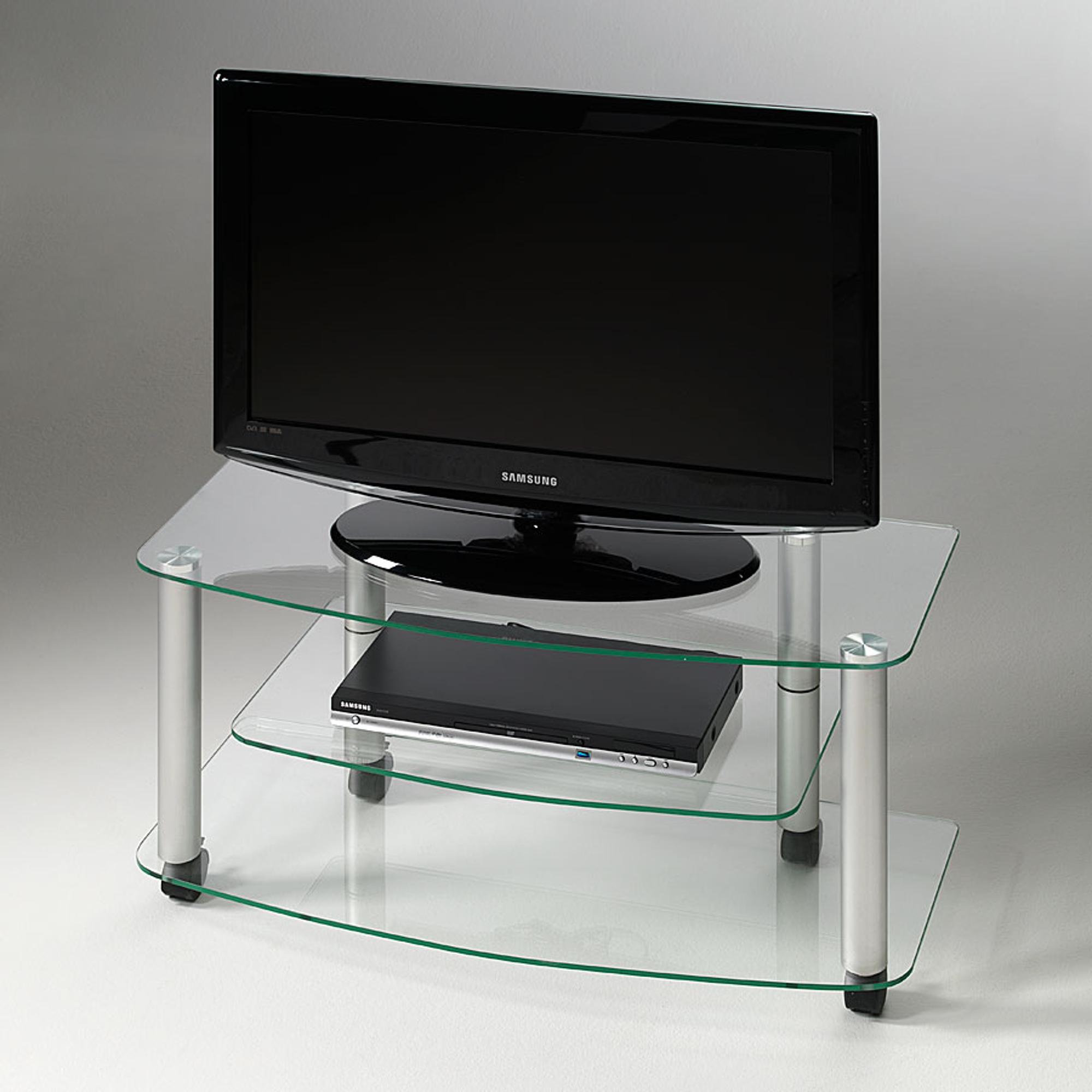 Carrello Porta TV03 90x40x43h cm ripiani in vetro temperato 8 mm Millenium Portata Max  Kg 45
