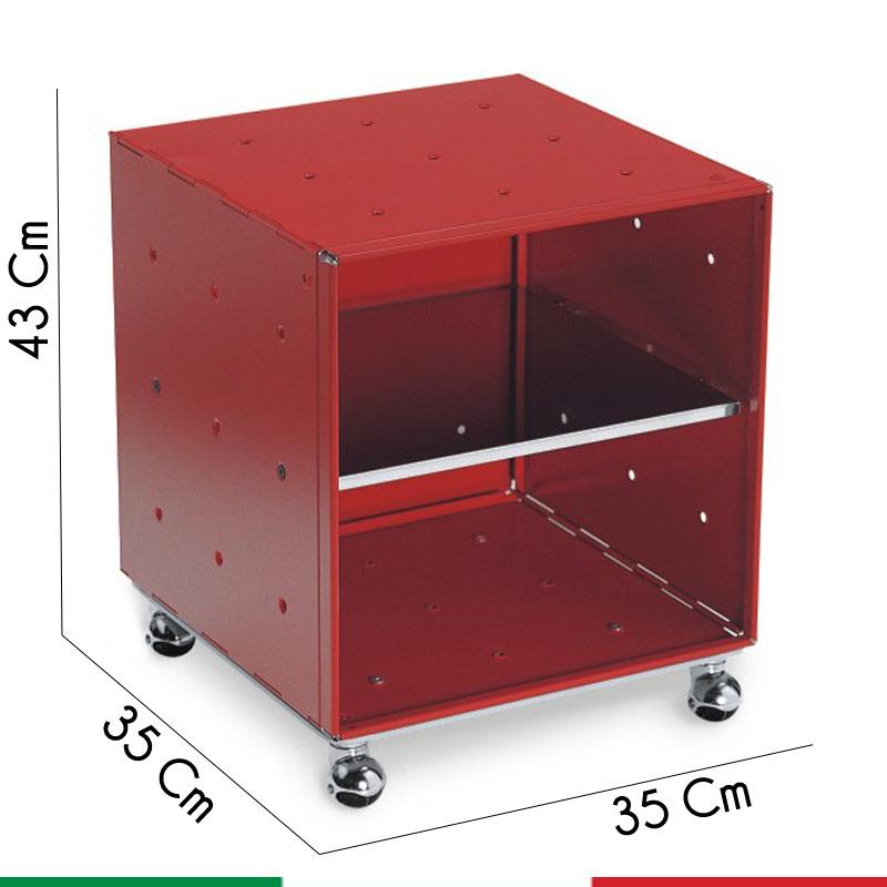 Comodino QBO11 Modulo Base Rosso 35x35x35 Con Ripiano
