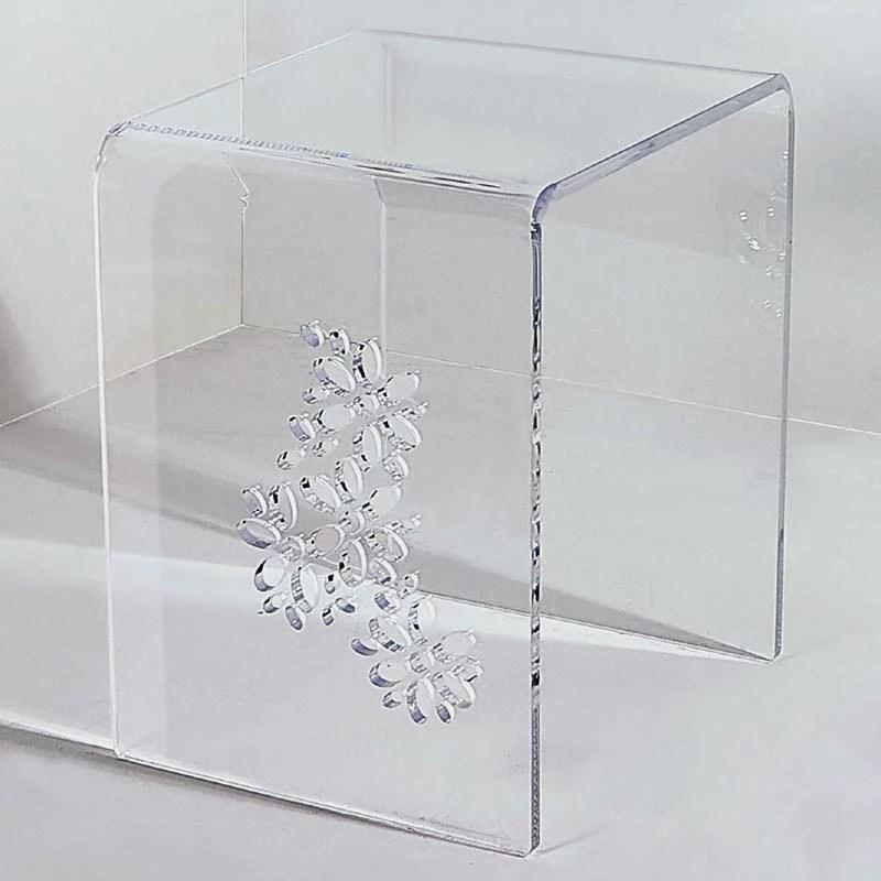 Sgabello tavolinetto Simply Flowers intagli floreali in plexiglas spessore 12 mm  Vesta