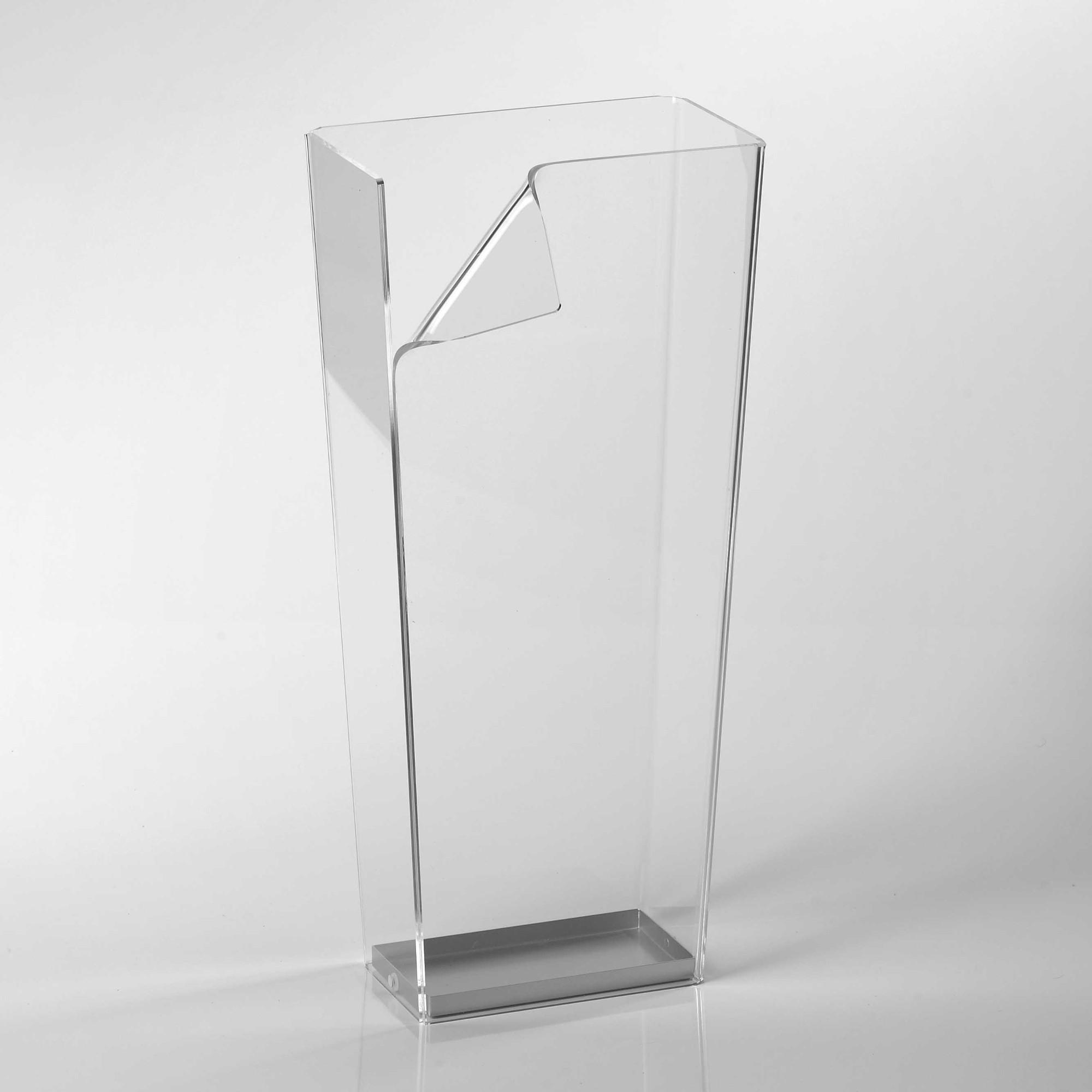 Portaombrelli in plexiglass 28x165xh60 cm ECO con curvatura a mano Trasparente  Vesta