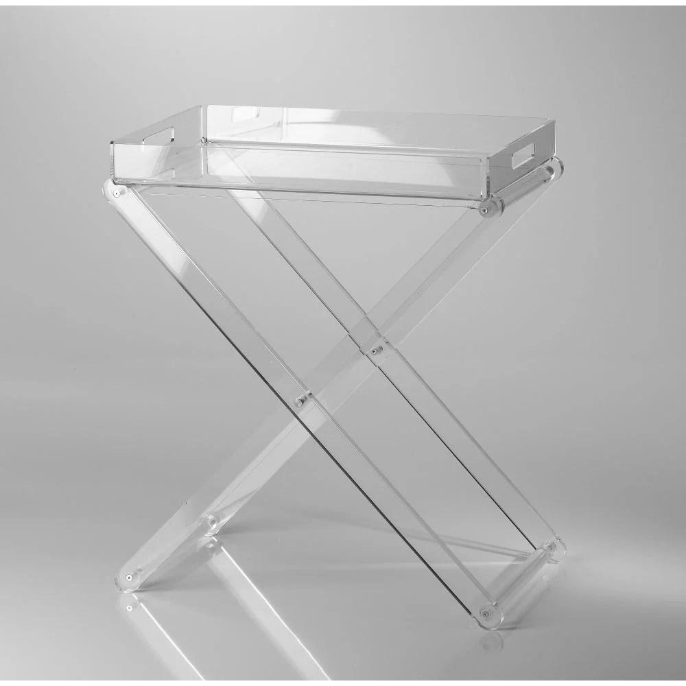Pliant pieghevole con vassoio 47x30x56h in Plexiglas