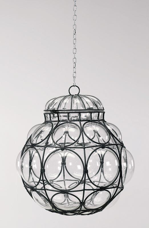 Lampadario da Soffitto in vetro soffiato trasparente e