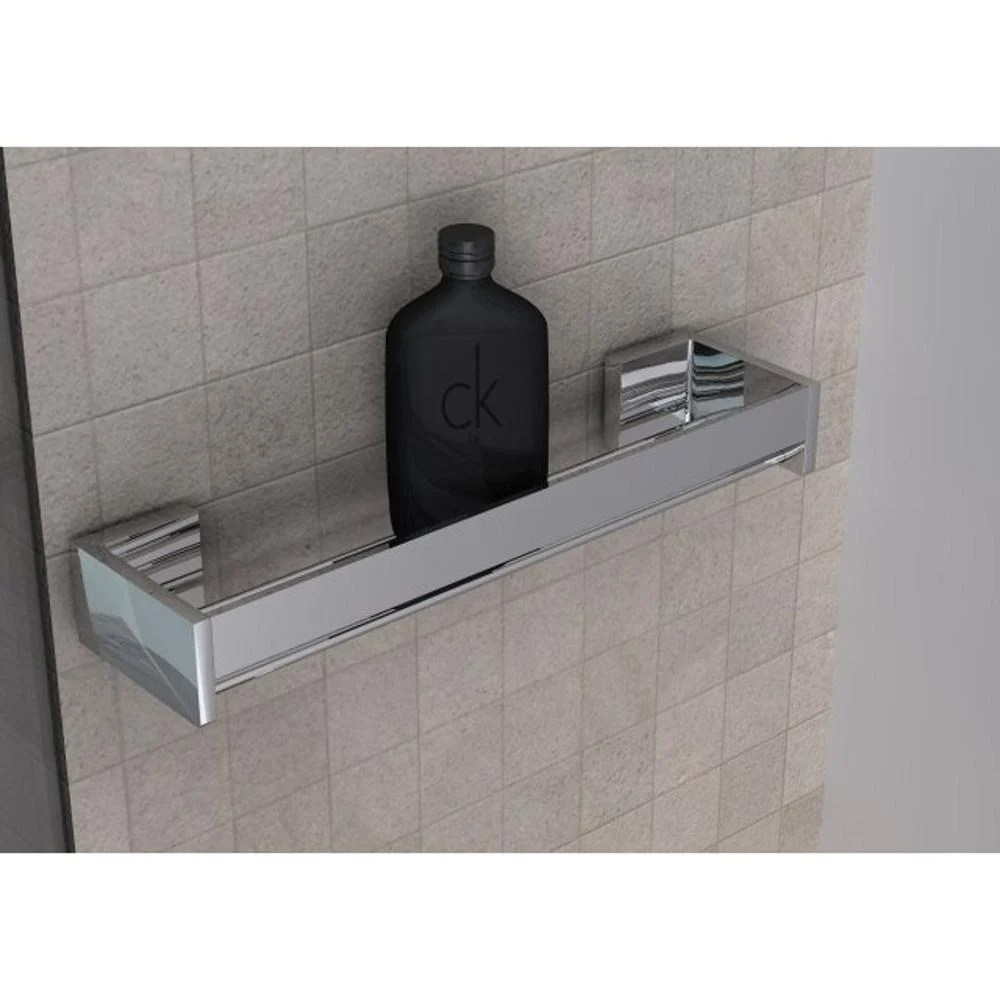 Mensola doccia bagno cromo h6x12x30cm Fissaggio Adesivo 3