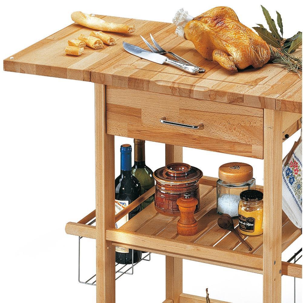 Carrello porta vivande in legno massiccio con tagliere