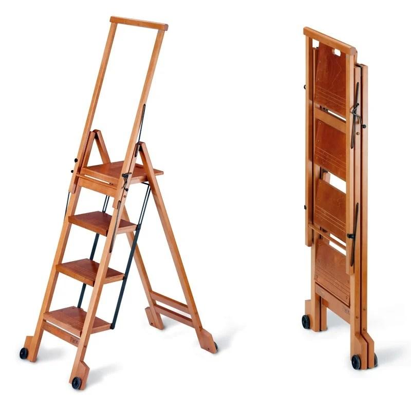 Scala quattro gradini con ruote richiudibile BIBLIO 4 550x910x1620mm Peso 117Kg Ciliegio  Aris