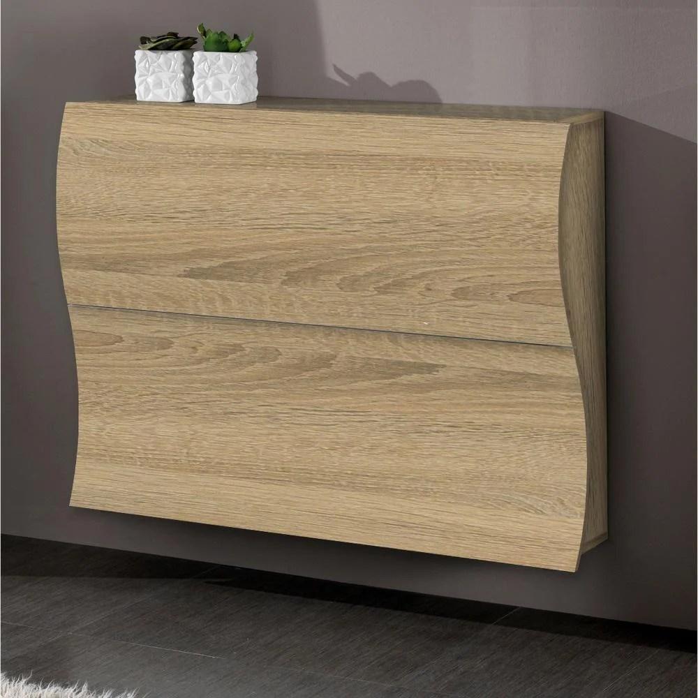 Scarpiera 2 ante 110x27xh82 cm in legno Laccato Rovere SEGATO ONDA 24 paia in Kit di Montaggio