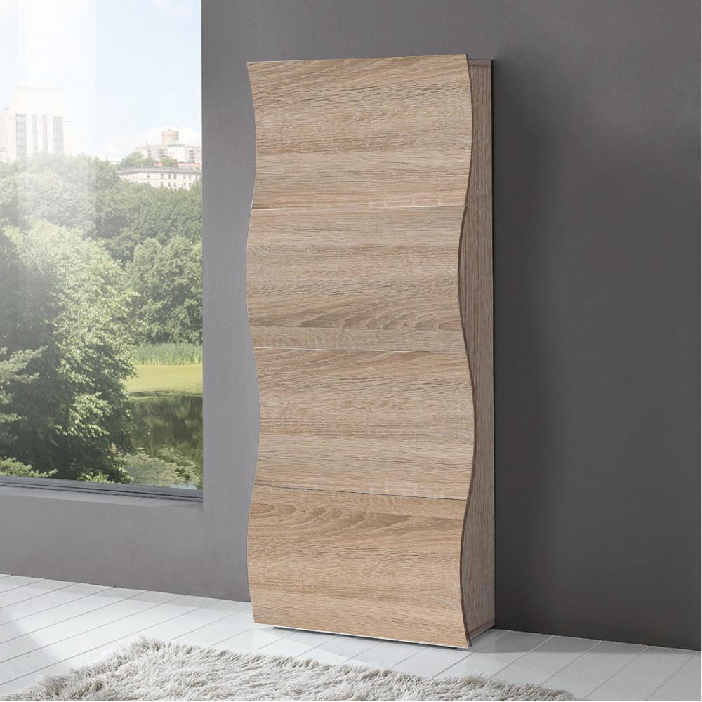 Scarpiera 4 ante 71x28xh162 cm in legno Rovere Segato ONDA