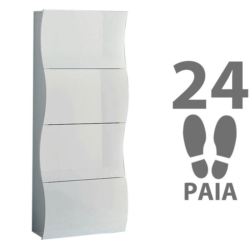 Scarpiera 4 ante 71x28xh162 cm in legno bianco laccato ONDA 24 paia in Kit di Montaggio  Tecnos Arredamento  StilcasaNet scarpiere e portascarpe