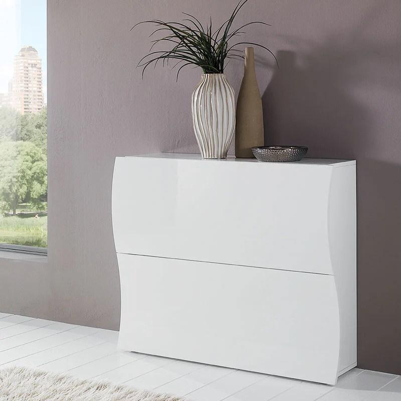 Scarpiera 2 ante 104x27xh82 cm in legno Laccato Bianco
