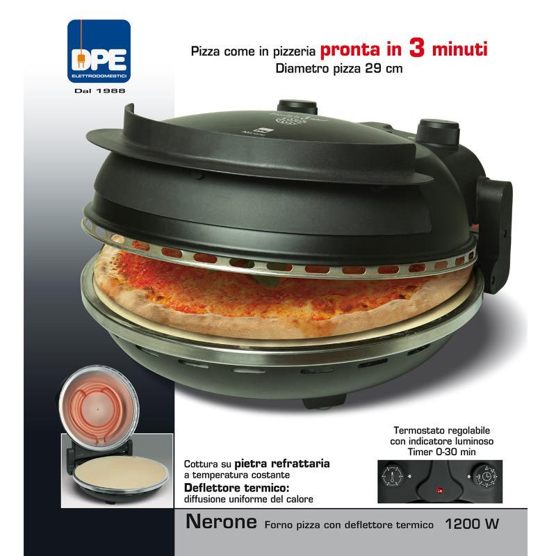 Forno Pizza Elettrico NERONE con piastra refrattaria e