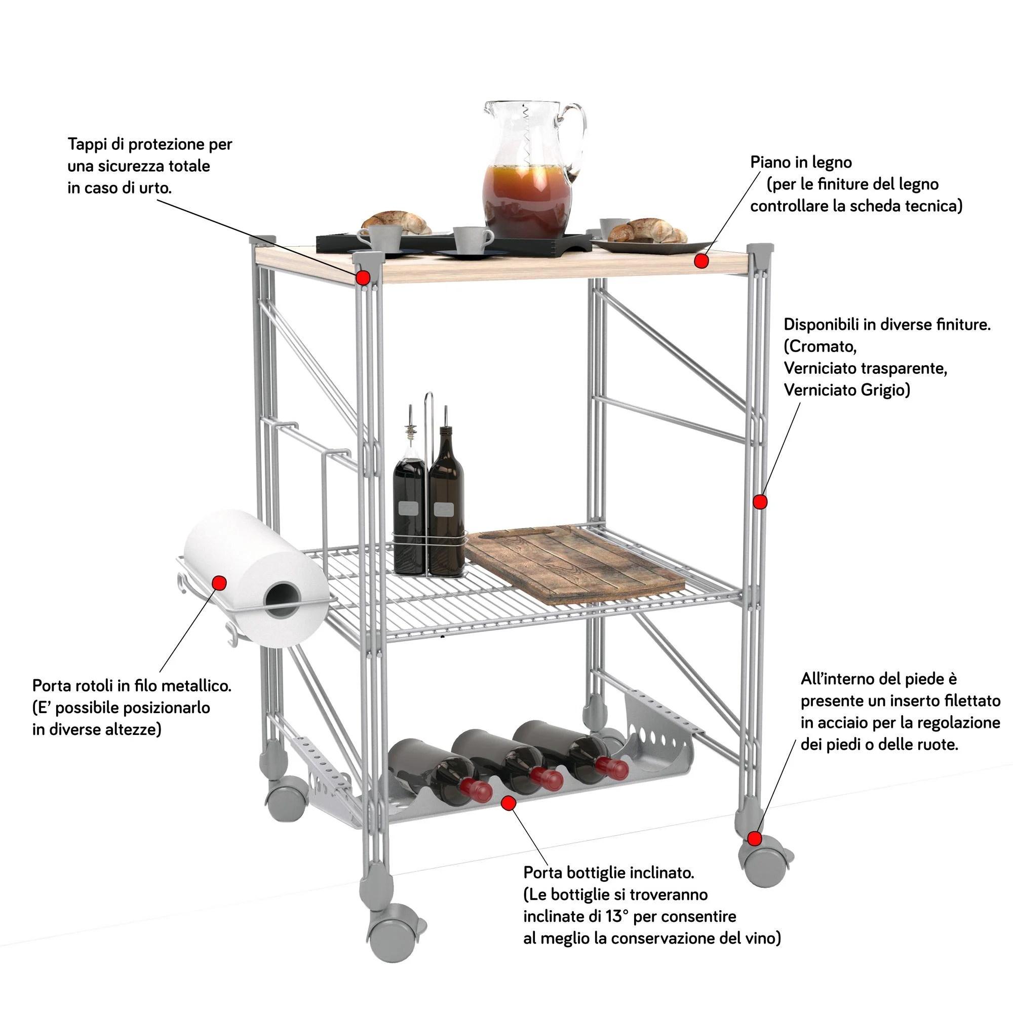Carrello da Cucina portavivande con Piano in Legno struttura in filo di ferro verniciata con