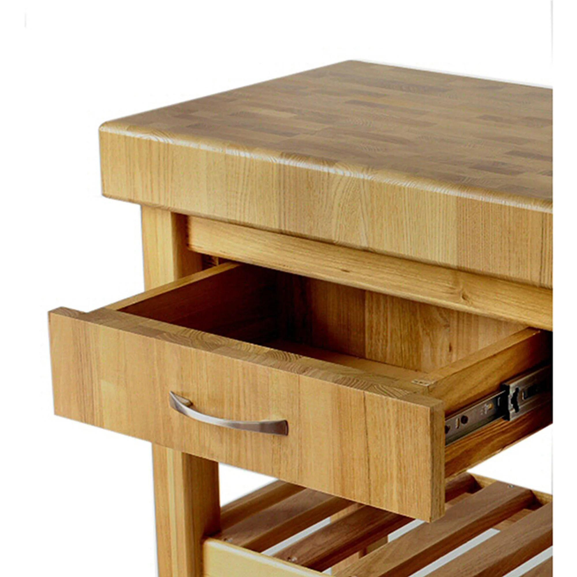 Carrello da cucina in legno massello con cassetto