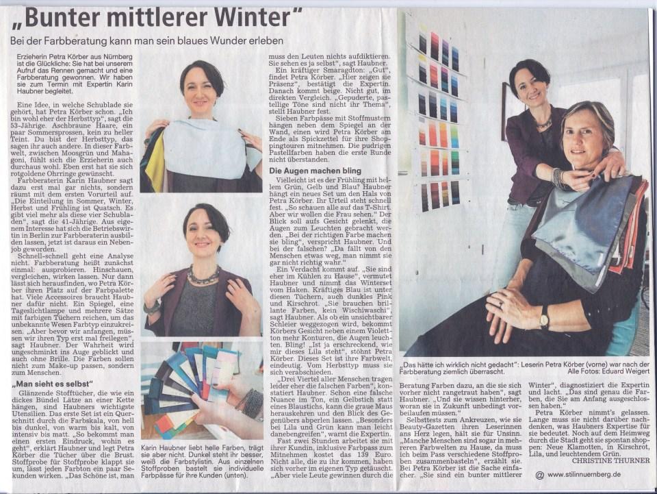 Nürnberger Nachrichten vom 16. Dezember 2013, Bericht über eine Farbberatung bei Stil in Nürnberg