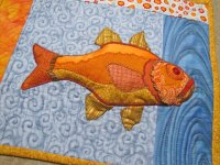 Art Quilt, FISH - Textile Art Wall Hanging
