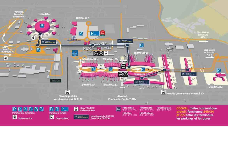 Mapa del aeropuerto Charles de Gaulle