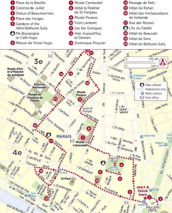 Paris Marais map