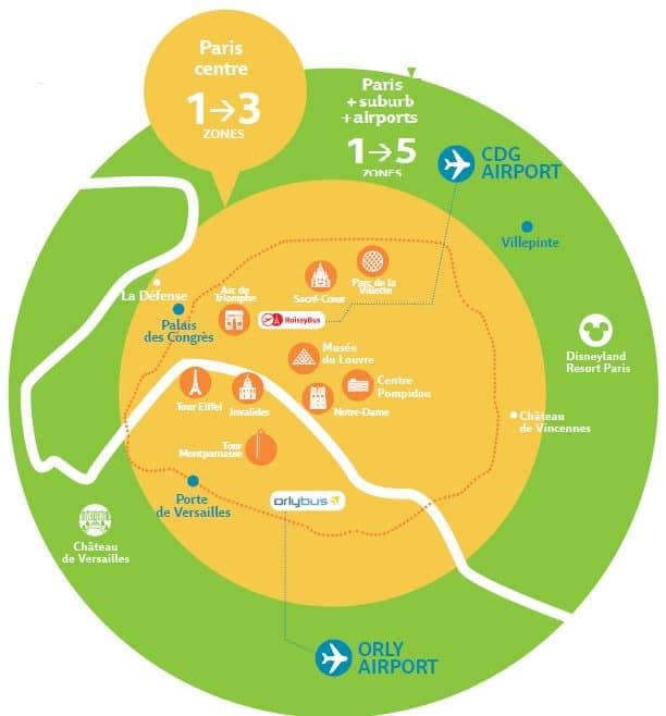 Paris visite pass mapa de zonas del metro