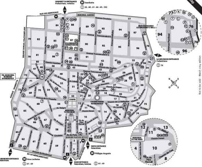 Mapa del cementerio de Père Lachaise