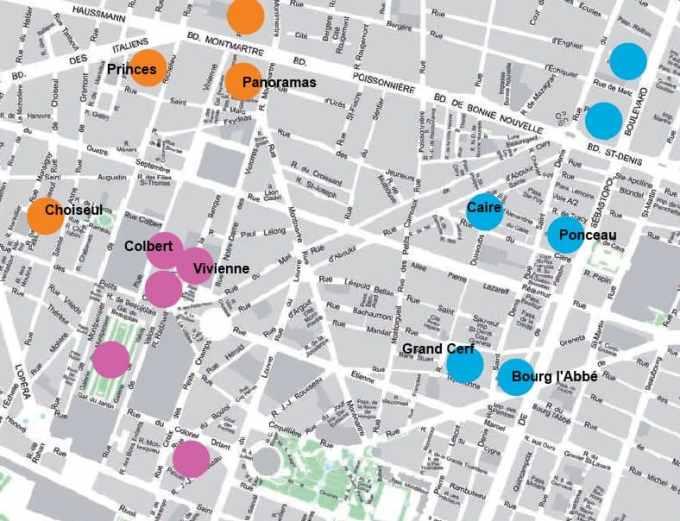 Paris Covered Passages - Grand Boulevards  map