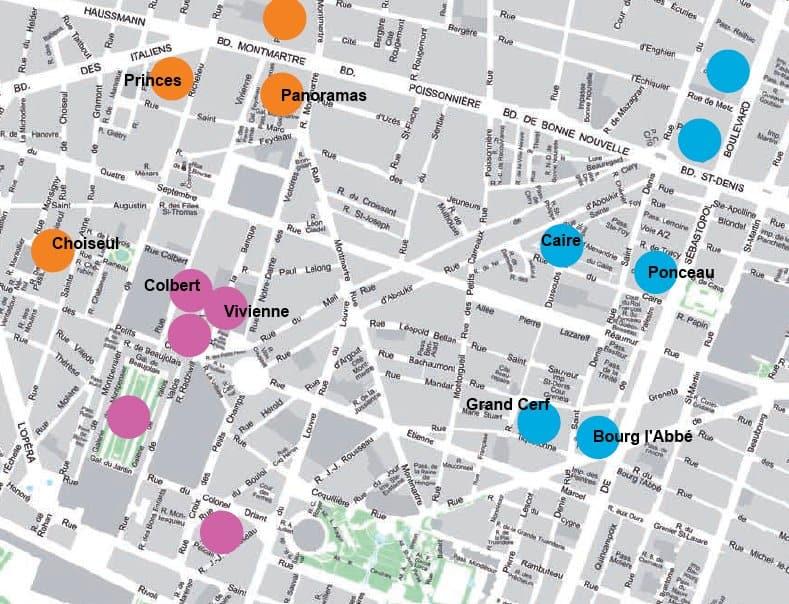 Mapa de los pasajes cubiertos por los Grandes Bulevares de Parí