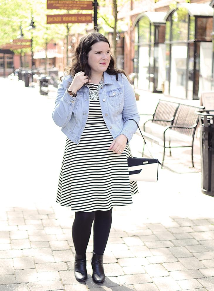 Black and white striped fit & flare Stitch Fix dress