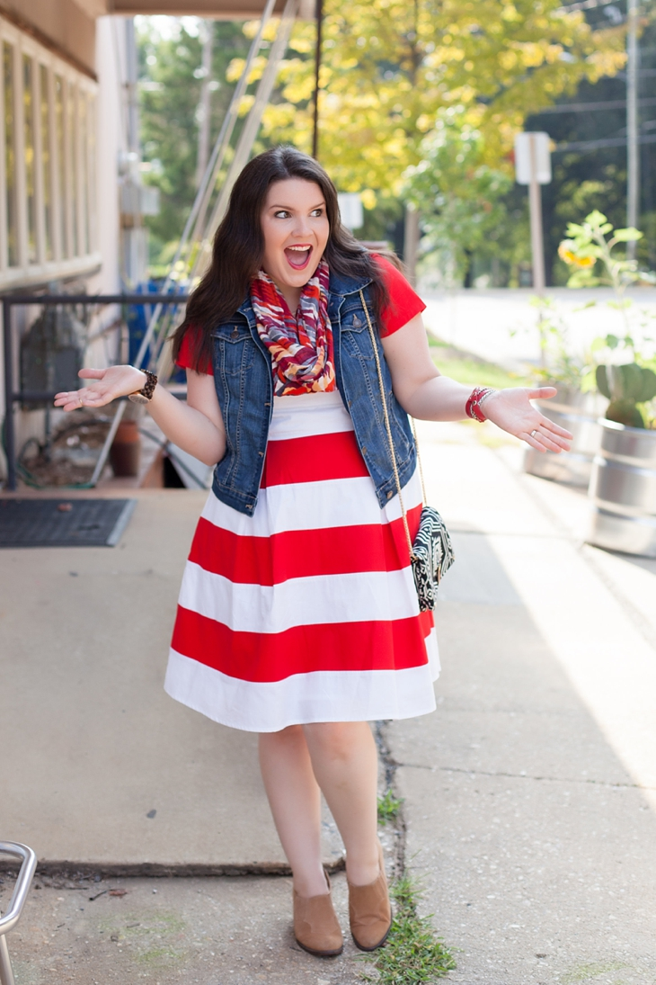 Red and white striped awning dress from Eshakti, denim jean vest, World Market scarf