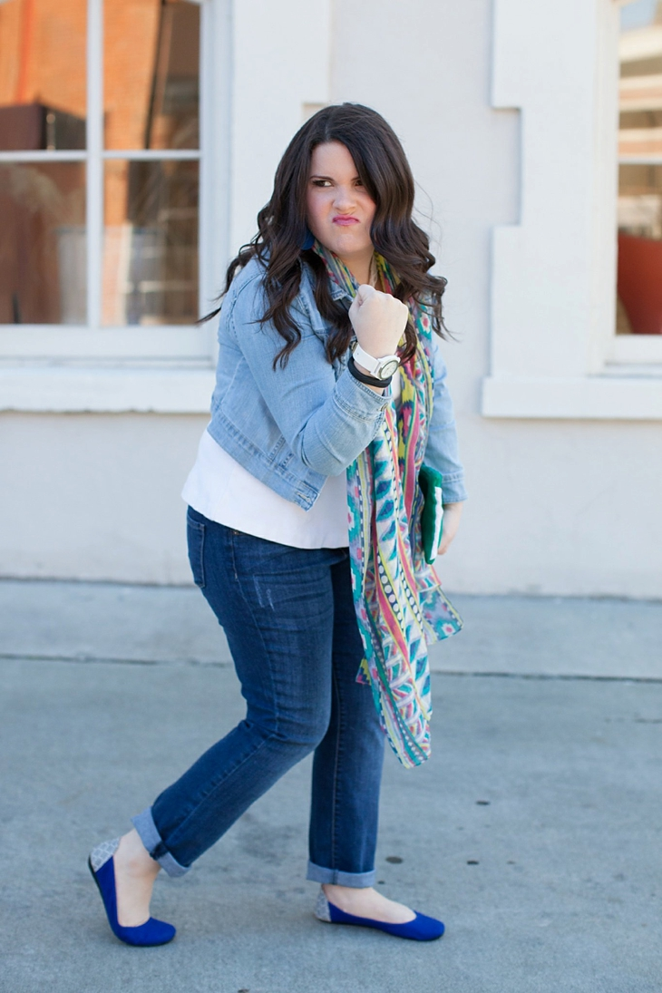 Winter / Fall style | denim jacket, skinny jeans, aztec scarf, Root Collective clutch and ballet flats, Root Collective necklace, white peplum top | North Carolina Fashion Blogger (7)