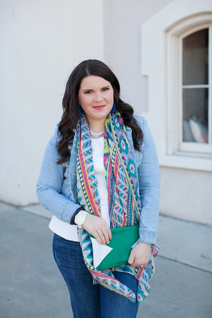 Winter / Fall style | denim jacket, skinny jeans, aztec scarf, Root Collective clutch and ballet flats, Root Collective necklace, white peplum top | North Carolina Fashion Blogger (8)