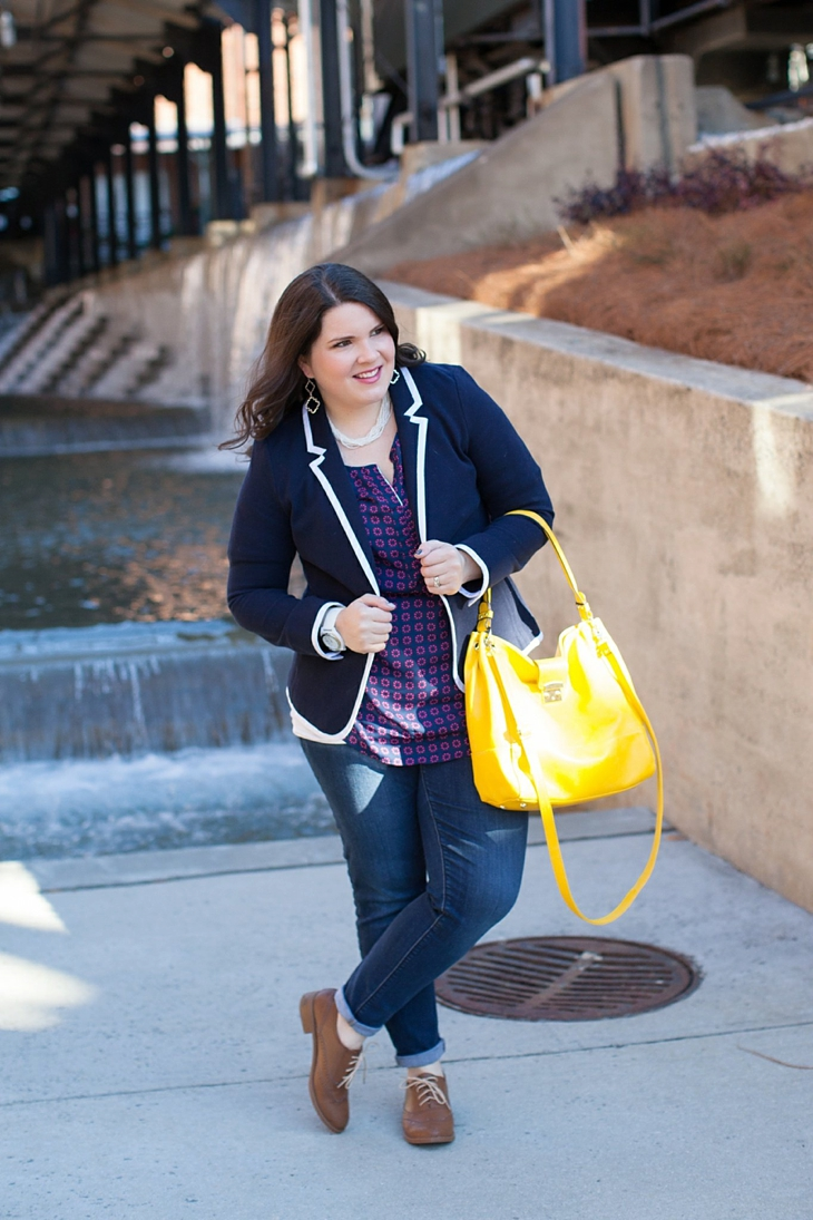 Winter / Fall style | schoolboy blazer, loafers, patterned top, yellow bag| North Carolina Fashion Blogger (1)