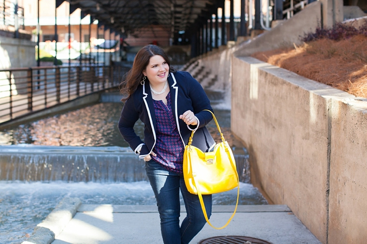Winter / Fall style | schoolboy blazer, loafers, patterned top, yellow bag| North Carolina Fashion Blogger (5)