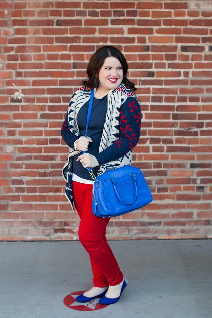 Winter / Fall style | red jeans, blue bag, Root Collective ballet flats, blue and red aztec cardigan, Nickel and Suede earrings | North Carolina Fashion Blogger (1)