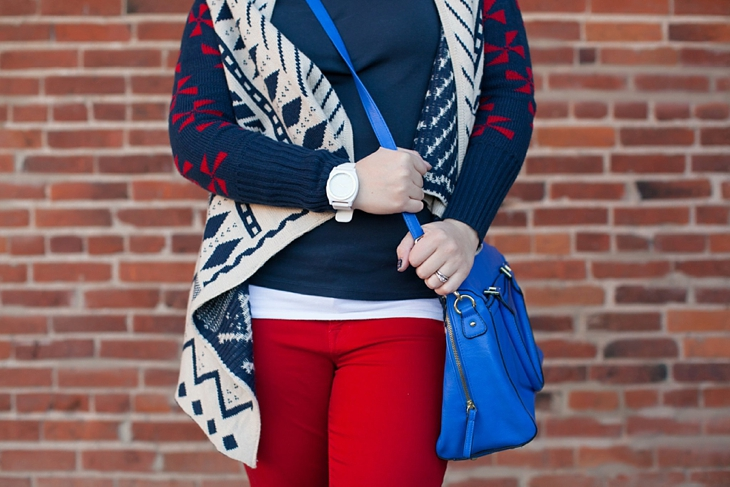 Winter / Fall style | red jeans, blue bag, Root Collective ballet flats, blue and red aztec cardigan, Nickel and Suede earrings | North Carolina Fashion Blogger (2)