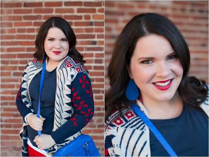 Winter / Fall style | red jeans, blue bag, Root Collective ballet flats, blue and red aztec cardigan, Nickel and Suede earrings | North Carolina Fashion Blogger (4)