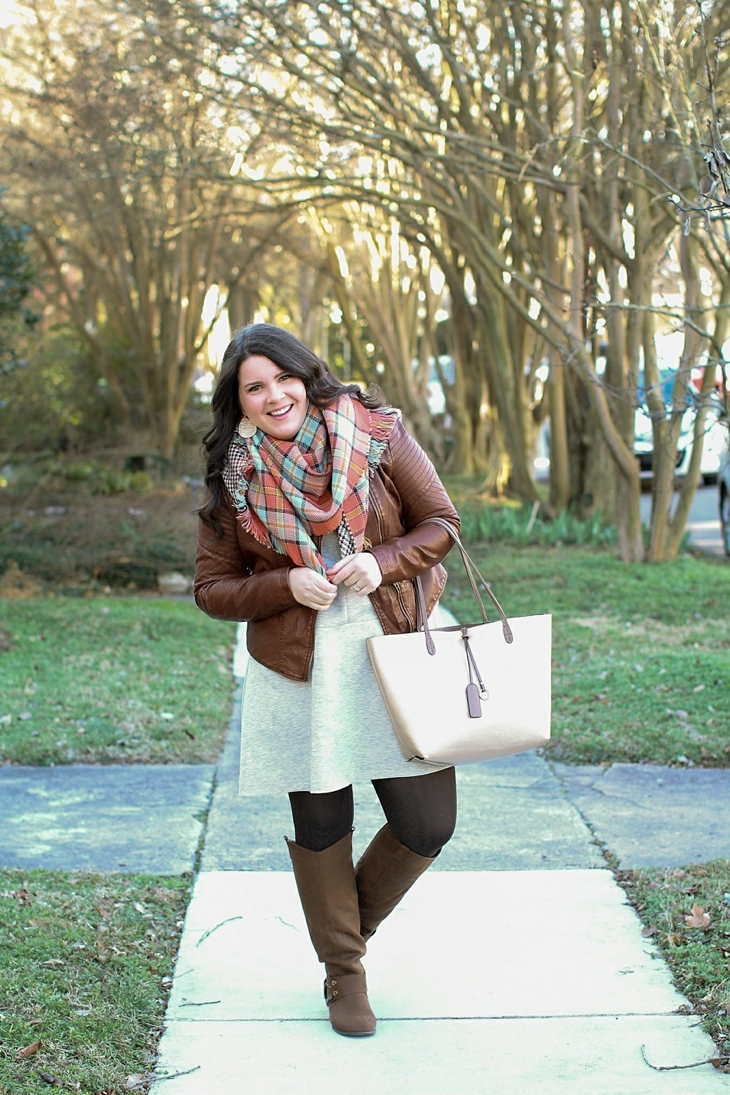 basic gray dress, tights, boots, leather jacket, blanket scarf (1)
