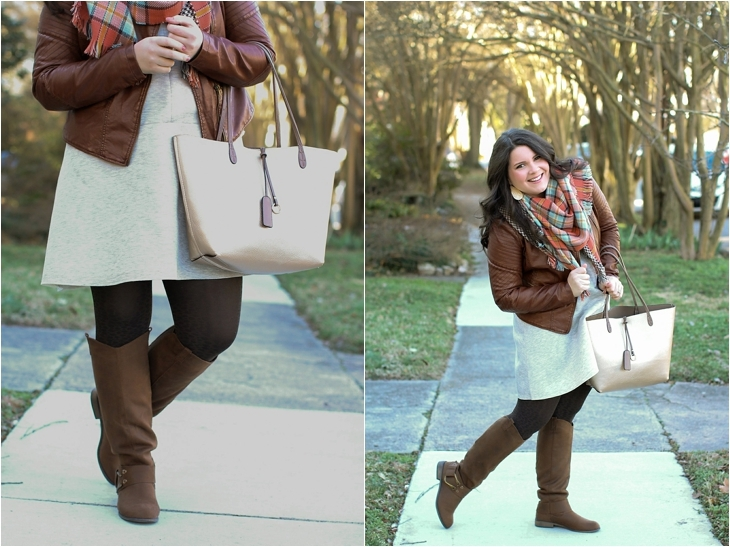 basic gray dress, tights, boots, leather jacket, blanket scarf (6)