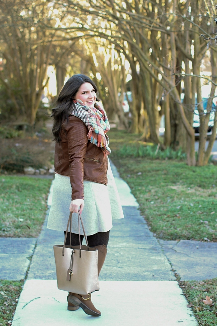 basic gray dress, tights, boots, leather jacket, blanket scarf (7)