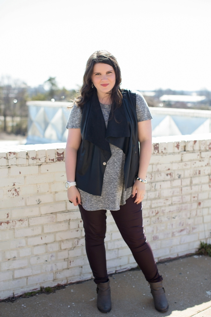 """Level 99 """"Charley Zipper Detail Coated Skinny Jean"""", Kut from the Kloth """"Eleni Faux Leather and Suede Vest"""", grey top, booties, Rocksbox, North Carolina Fashion Blogger (1)"""