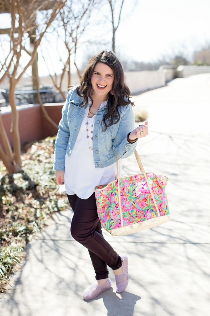 """Level 99 """"Charley Zipper Detail Coated Skinny Jean"""" , Denim Jacket, The Limited Blouse, Crochet TOMS, Lilly Pulitzer tote - North Carolina Fashion Blogger (6)"""