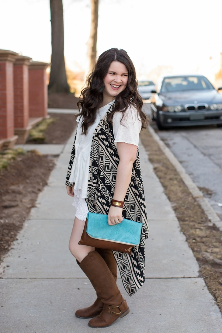 lace shorts, aztec printed vest, brown boots, ooh baby designs foldover clutch, nickel and suede earrings - north carolina fashion blogger (2)