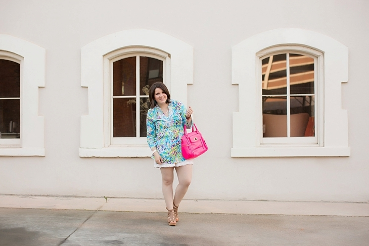 Lilly Pulitzer tunic, lace shorts, pink bag, and Nine West wedges