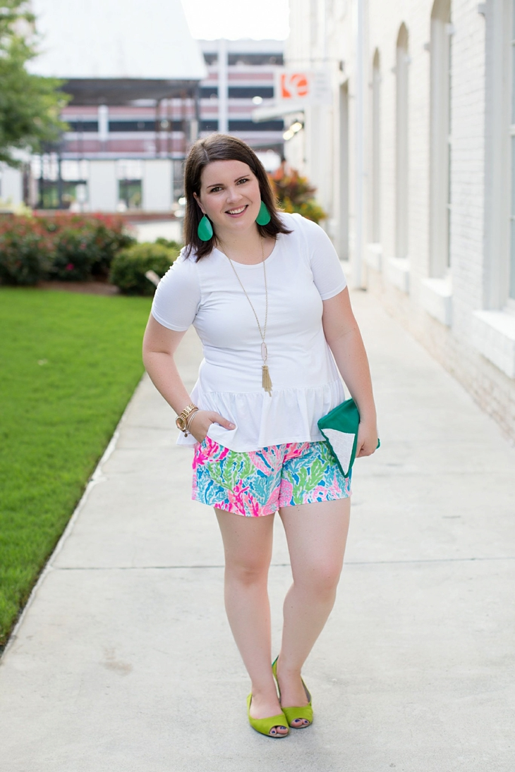 Elegantees Chelsea tee, Lilly Pulitzer Lets Cha Cha Callahan shorts, Root Collective, Nickel and Suede, Kendra Scott (1)
