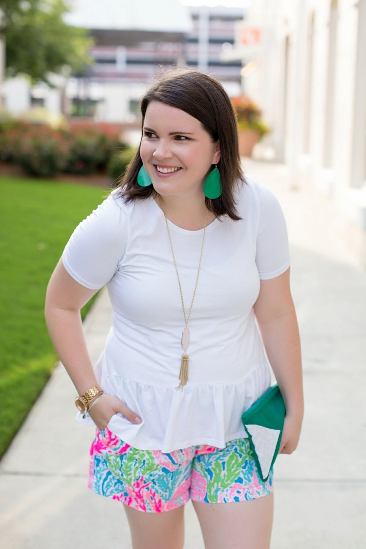 Elegantees Chelsea tee, Lilly Pulitzer Lets Cha Cha Callahan shorts, Root Collective, Nickel and Suede, Kendra Scott (2)