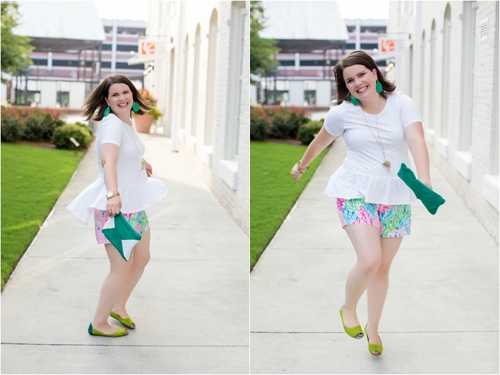 Elegantees Chelsea tee, Lilly Pulitzer Lets Cha Cha Callahan shorts, Root Collective, Nickel and Suede, Kendra Scott (6)