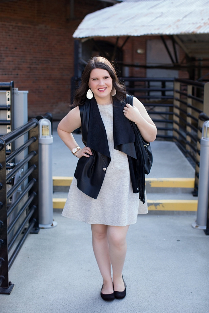 gray dress, leather vest, fringe bag, Root Collective shoes, Nickel and Suede earrings (1)