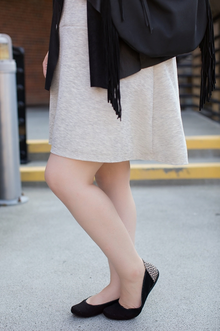 gray dress, leather vest, fringe bag, Root Collective shoes, Nickel and Suede earrings (3)