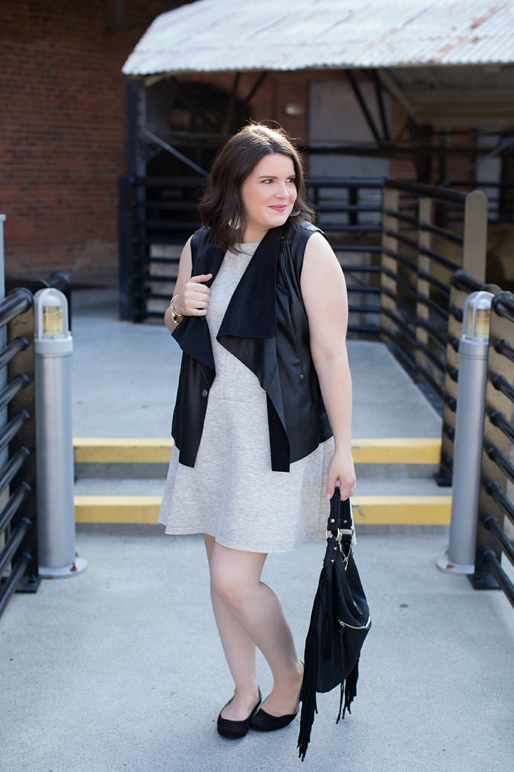 gray dress, leather vest, fringe bag, Root Collective shoes, Nickel and Suede earrings (4)