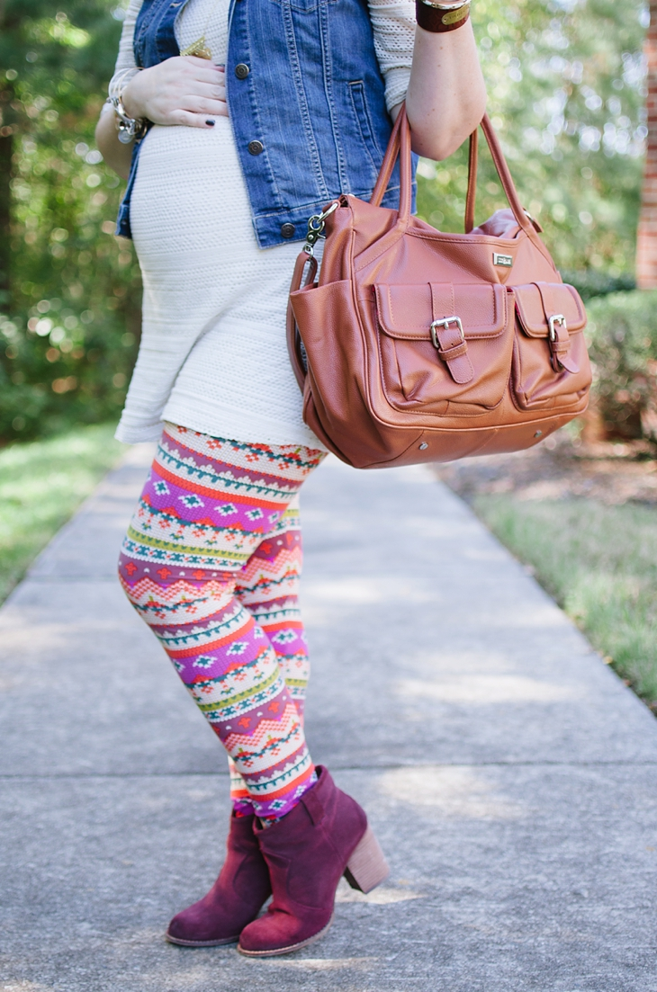 White Plum Printed Leggings, Stitch Fix maternity tunic, denim vest, Lily Jade diaper bag | Maternity Style (2)