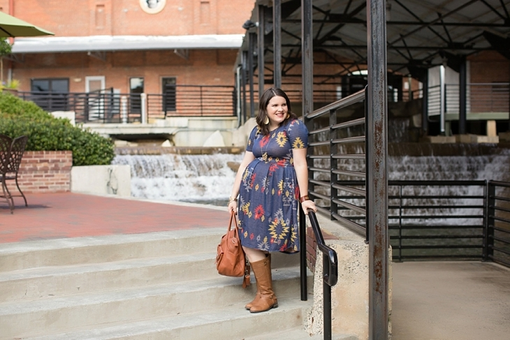 LulaRoe Aztec Amelia dress, Duo boots, Lily Jade bag, Nickel and Suede earrings, Fall, Maternity, Fashion (3)